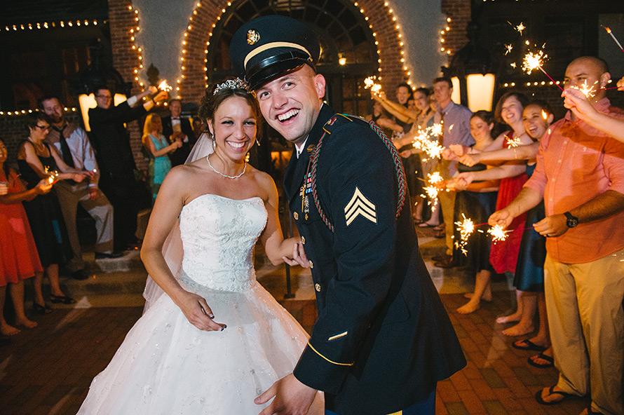 military-wedding-biltmore-sparklers