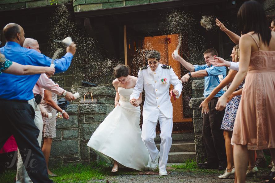 Rice wedding exit