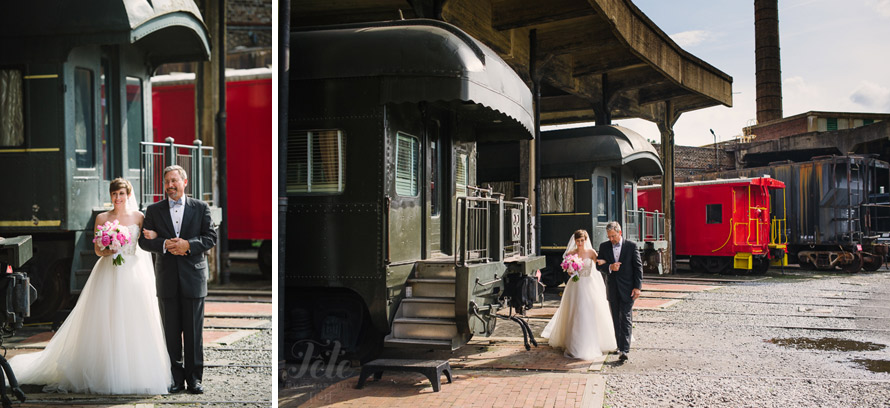 Train museum wedding