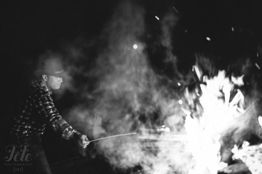 Groom and bonfire