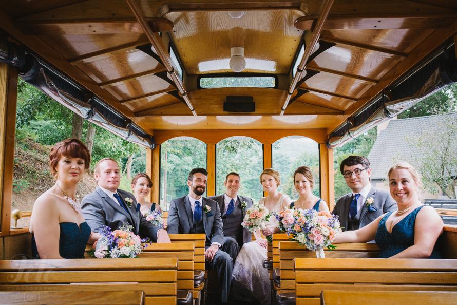 Wedding party in trolley