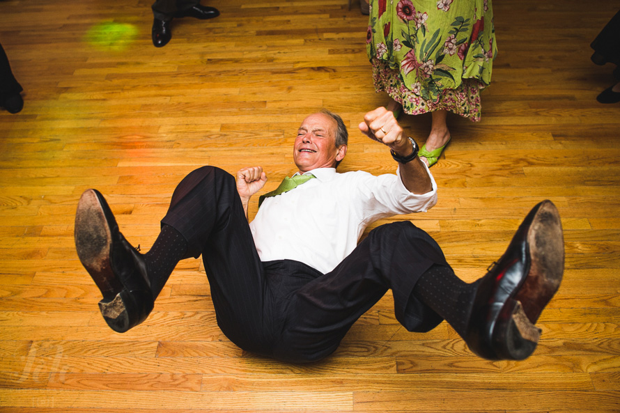 Man break dancing at wedding