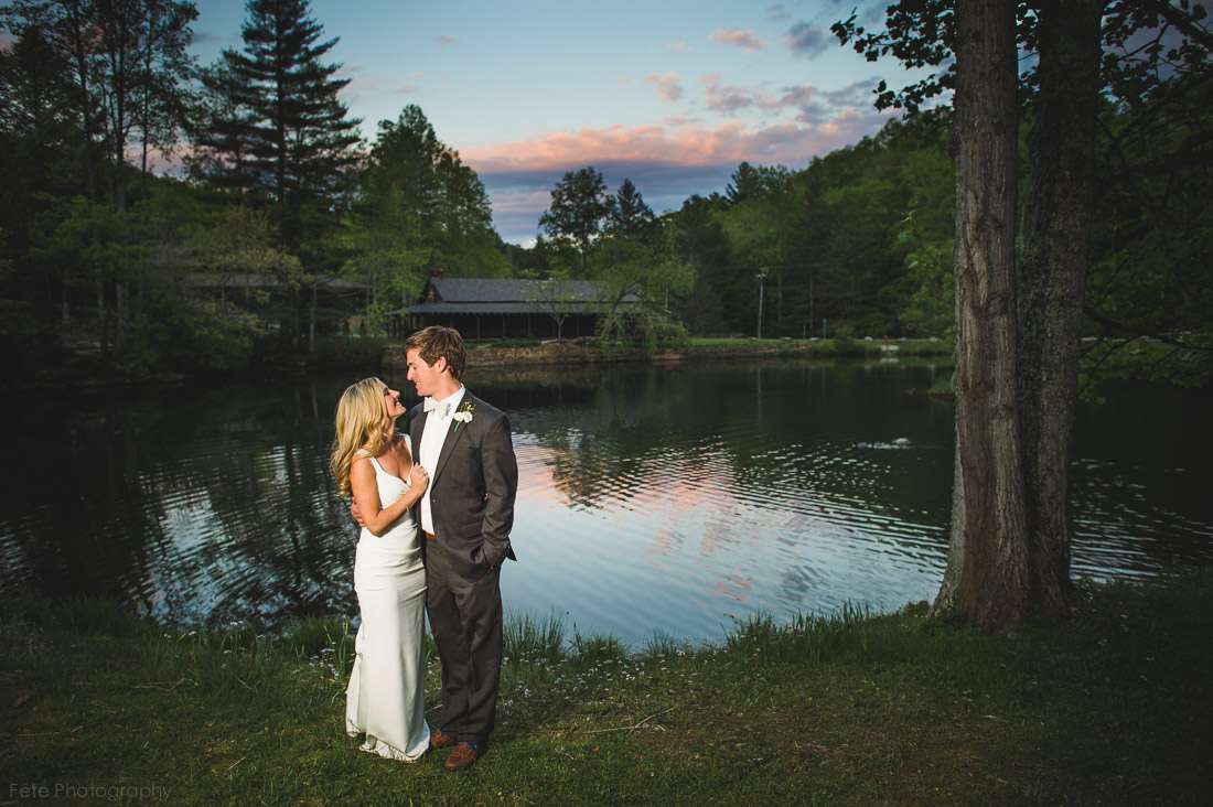 Sunset portrait at wedding