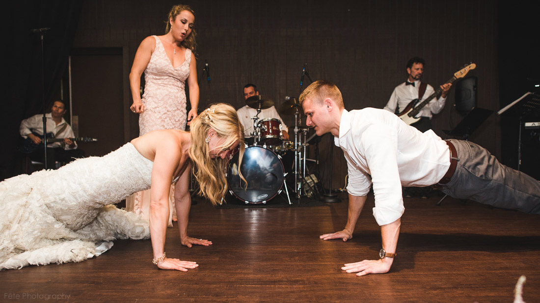 Pushup contest between bride and brother