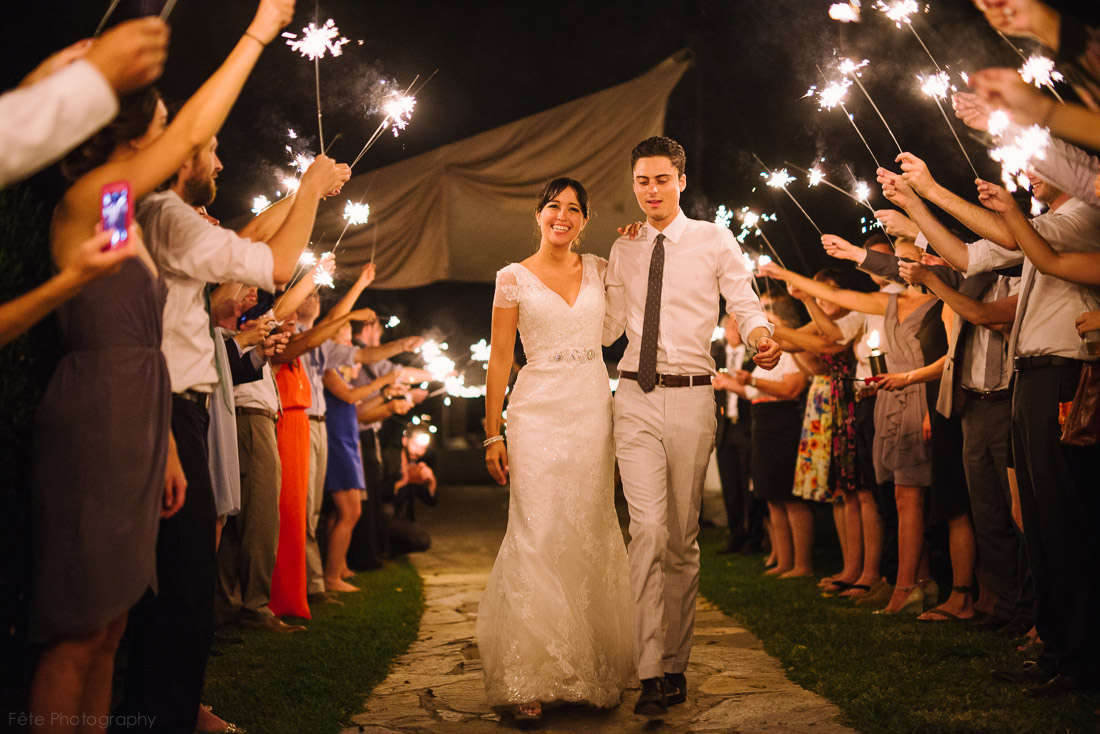 Sparkler exit at wedding venue