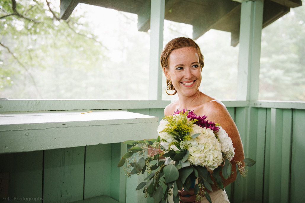 Bride in rustic building