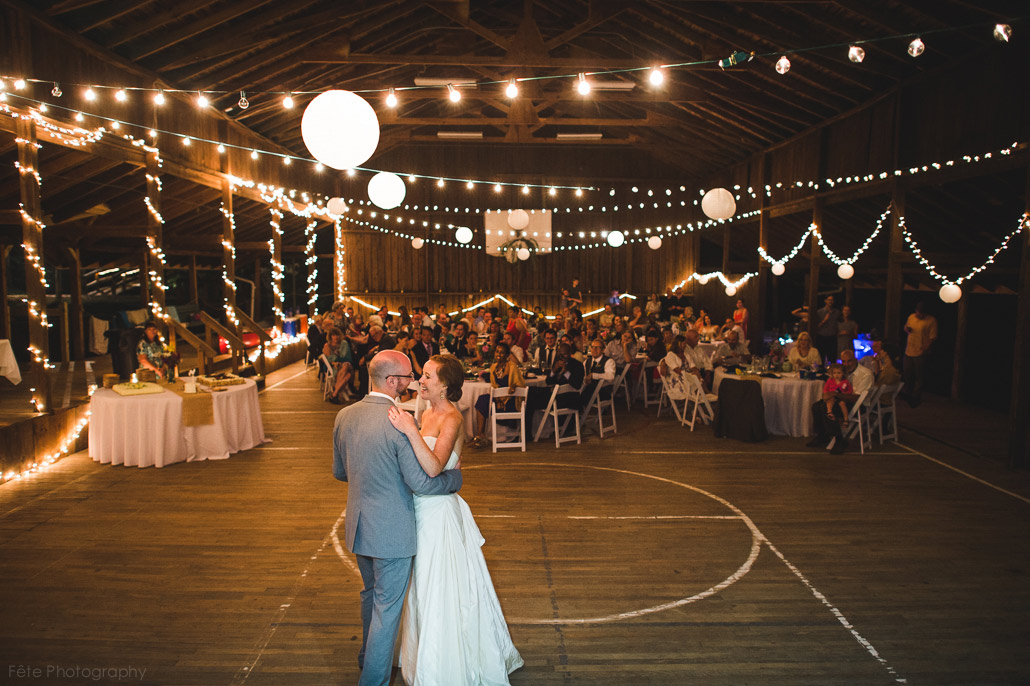 Wedding in wooden gym at camp