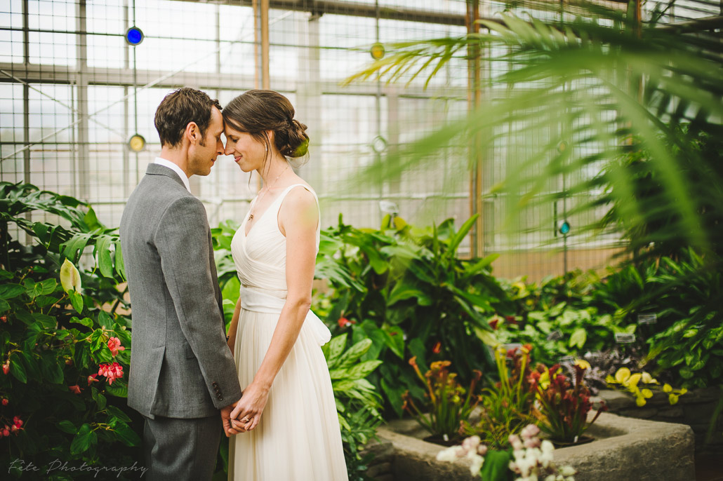 Wedding photo in greenhouse