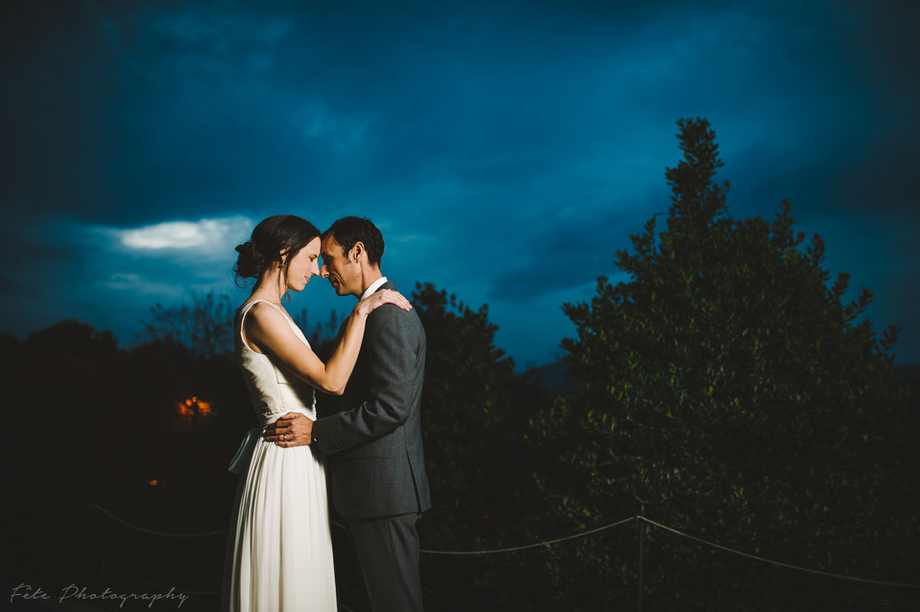 Wedding portraits during blue hour