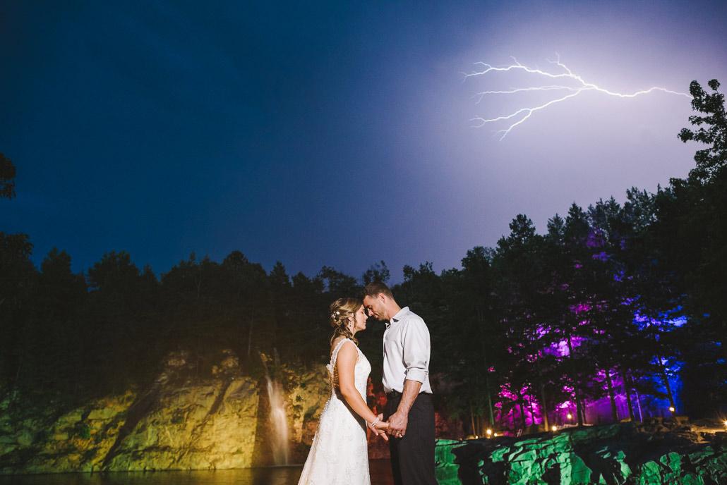 Crazy wedding photo with lightning
