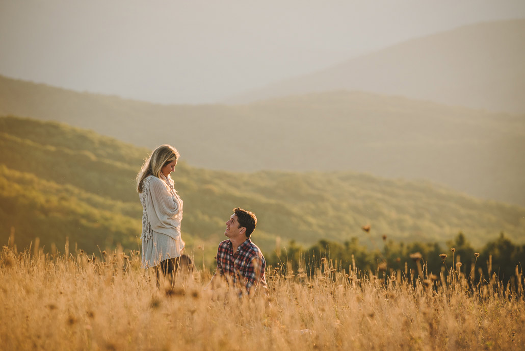 A Proposal at sunset on mountains