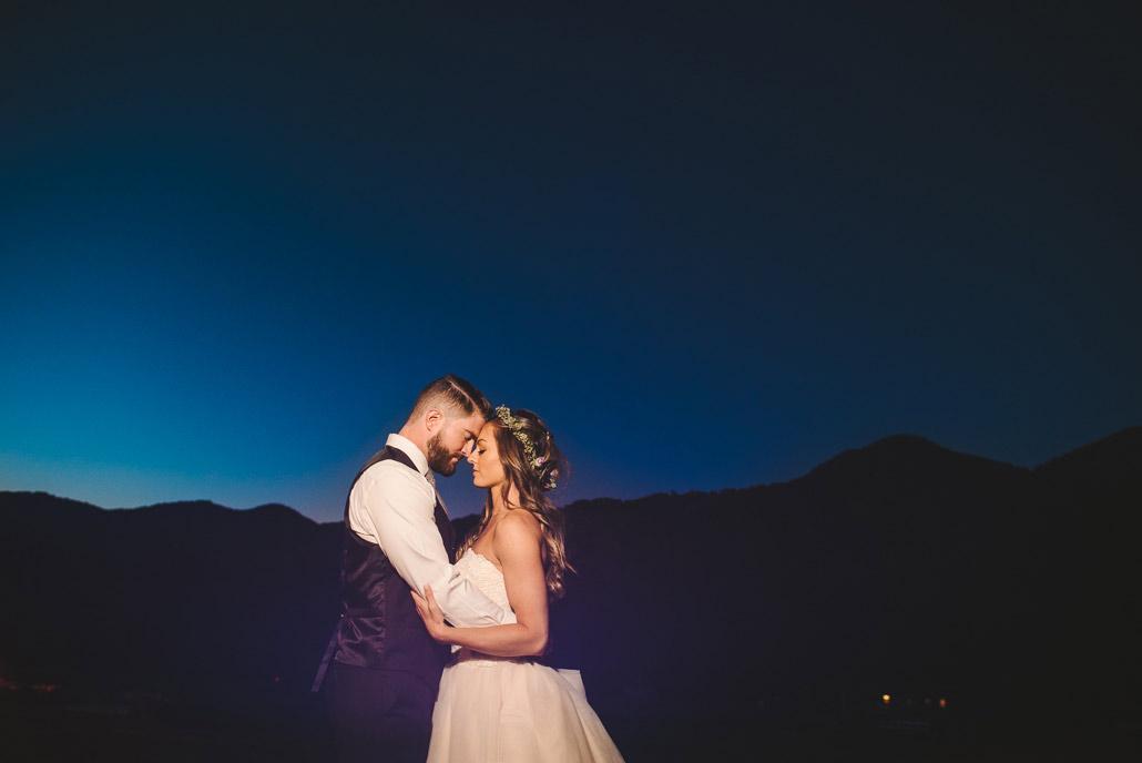 blue hour wedding portrait