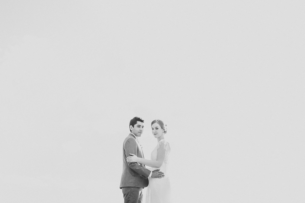 Black and white minimalistic wedding photo