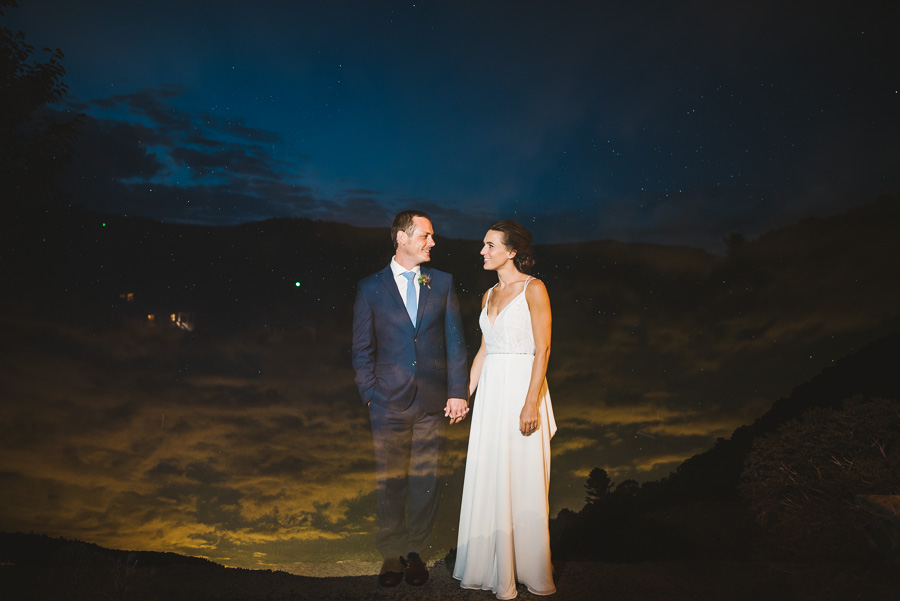 Artistic wedding portrait at twilight