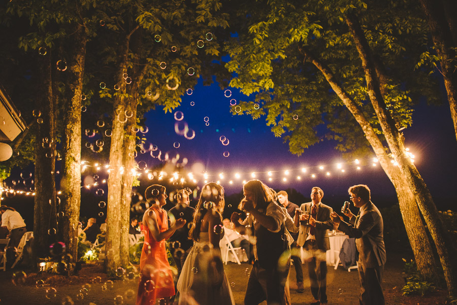 Reception with bubbles, string lights