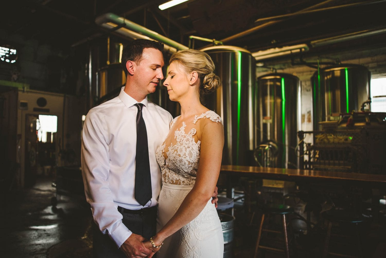 Brewery wedding photo