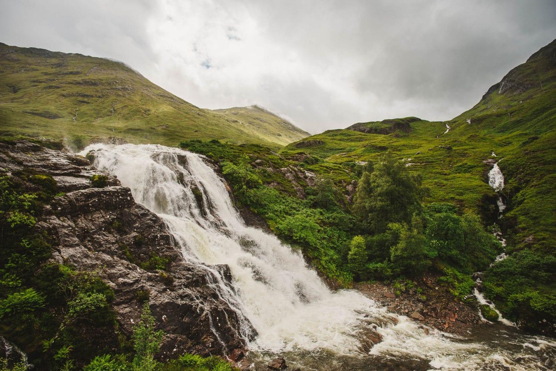 a waterfall in Glencoe