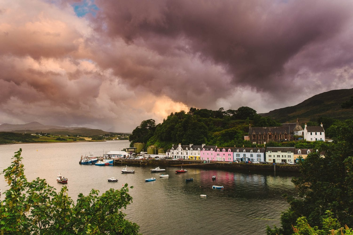 Portree, Scotland at sunset