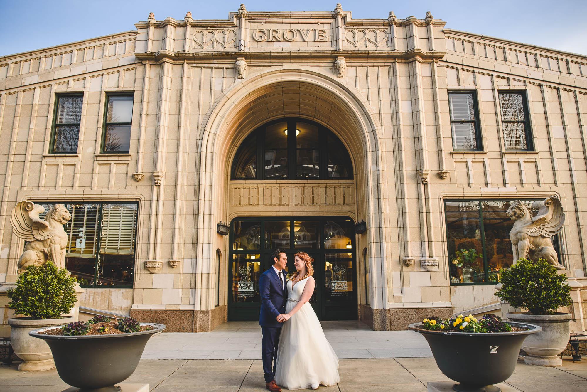 Grove Arcade wedding portrait