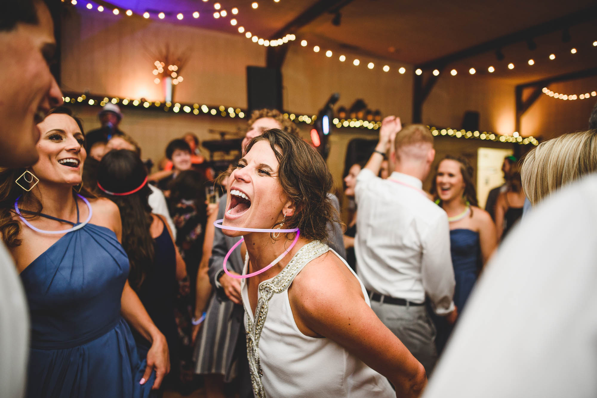 Bride having a good time