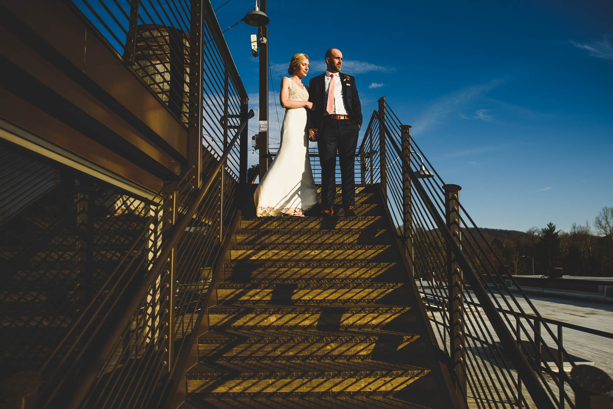 Rooftop wedding portraits