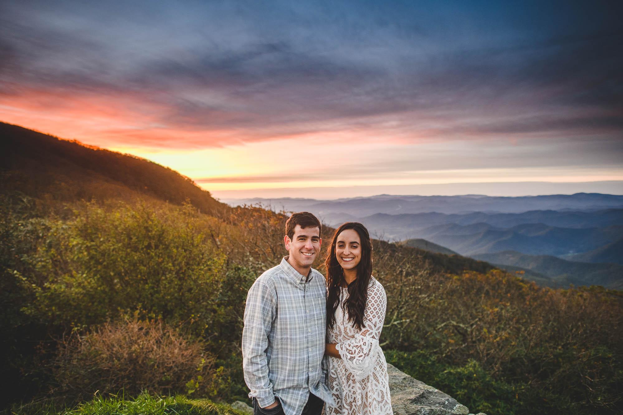 Craggy engagement sunset