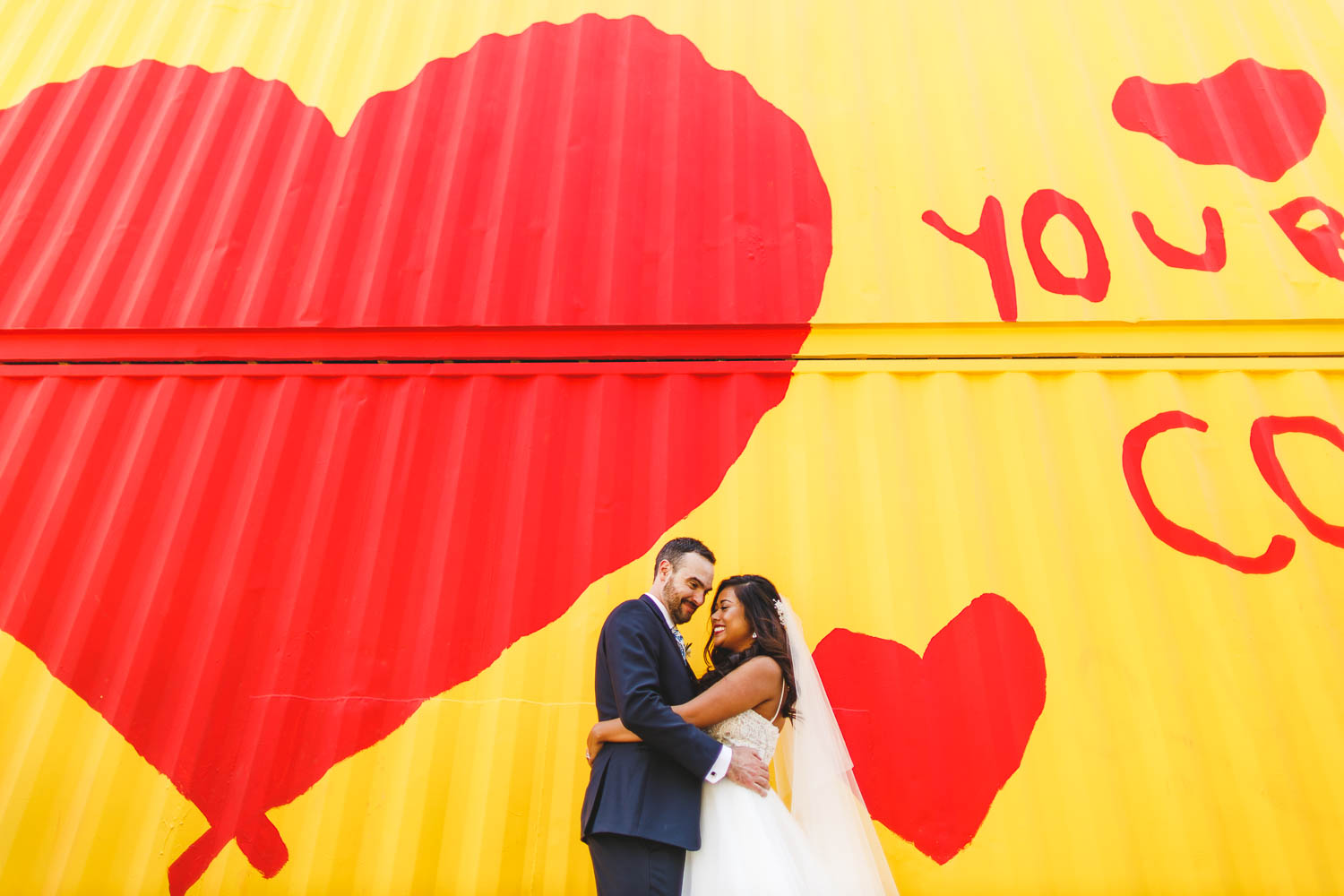 Colorful mural with bride and groom