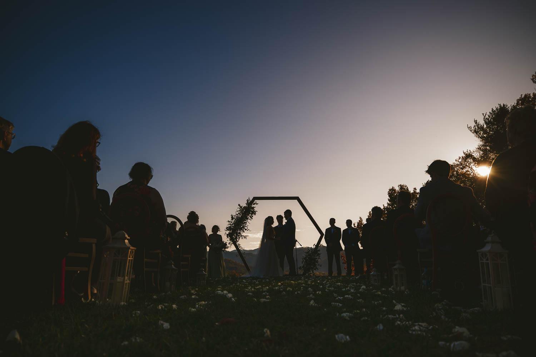 Silhouette wedding ceremony